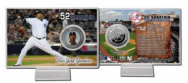 New York Yankees CC Sabathia Silver Plate Coin Card