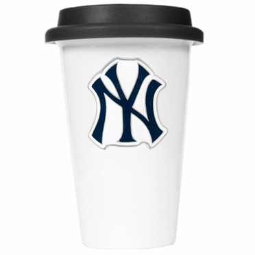 New York Yankees Ceramic Travel Cup (Black Lid)