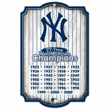 New York Yankees Wood Sign - 27 Time Champion