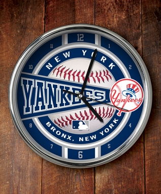 New York Yankees Chrome Clock