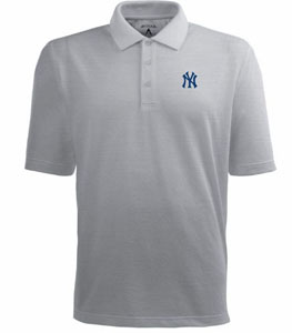 New York Yankees Mens Pique Xtra Lite Polo Shirt (Color: Gray) - X-Large