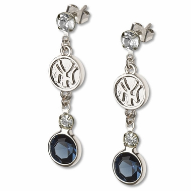 New York Yankees Crystal Logo Dangle Earrings