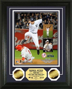 "New York Yankees Derek Jeter ""5x World Series Champ"" 24 KT Gold Coin Photo Mint"