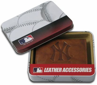 New York Yankees Embossed Leather Trifold Wallet