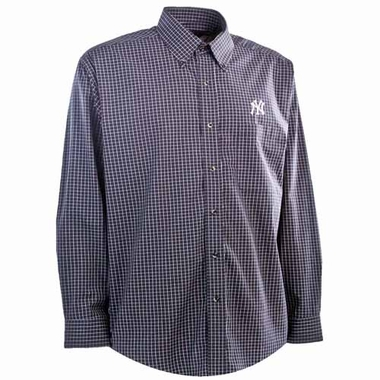 New York Yankees Mens Esteem Button Down Dress Shirt (Team Color: Navy)