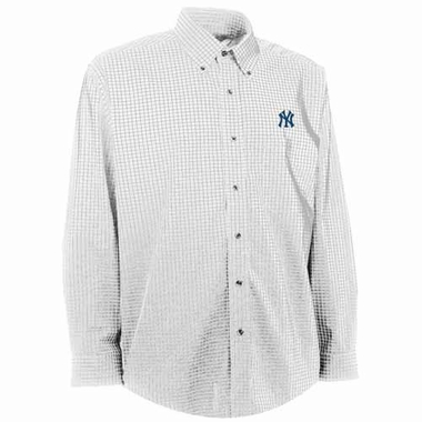 New York Yankees Mens Esteem Check Pattern Button Down Dress Shirt (Color: White)