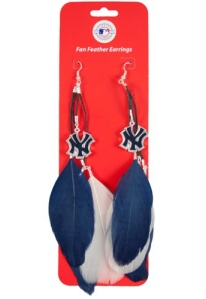 New York Yankees Feather Earrings