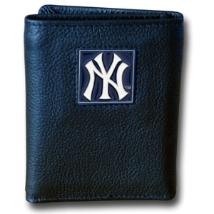 New York Yankees Leather Trifold Wallet (F)