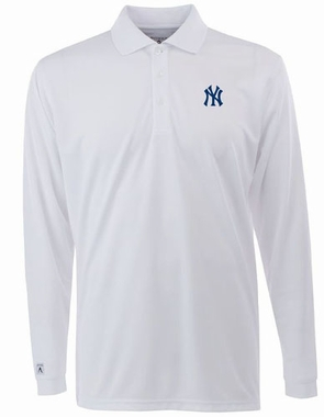 New York Yankees Mens Long Sleeve Polo Shirt (Color: White)