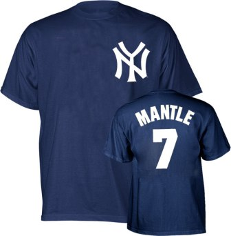 New York Yankees Mickey Mantle Name and Number T-Shirt
