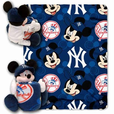 New York Yankees Mickey Mouse Pillow / Throw Combo