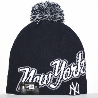 New York Yankees New Era Script Freeze Cuffless Knit Hat