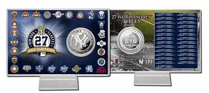 New York Yankees New York Yankees 27x WS Champs Silver Coin Card