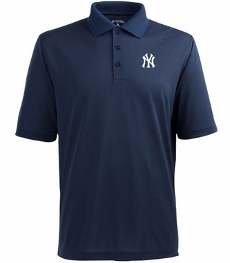 New York Yankees (NY Logo) Mens Pique Xtra Lite Polo Shirt (Team Color: Navy)