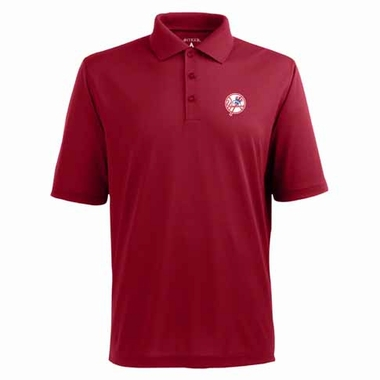 New York Yankees Mens Pique Xtra Lite Polo Shirt (Alternate Color: Red)