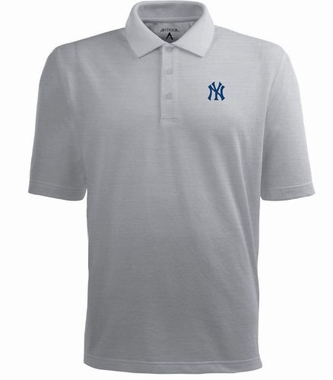 New York Yankees Mens Pique Xtra Lite Polo Shirt (Color: Gray)