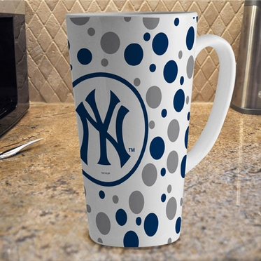 New York Yankees Polkadot 16 oz. Ceramic Latte Mug