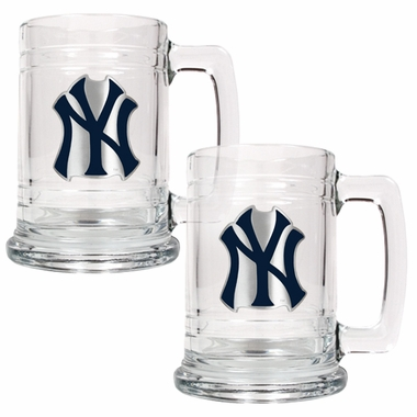 New York Yankees Set of 2 15 oz. Tankards