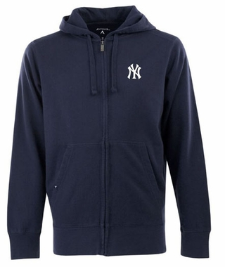 New York Yankees Mens Signature Full Zip Hooded Sweatshirt (Color: Navy)