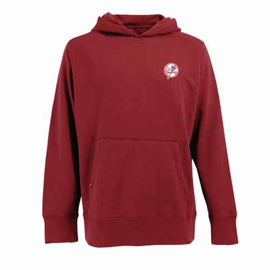 New York Yankees Mens Signature Hooded Sweatshirt (Color: Red)
