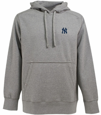 New York Yankees Mens Signature Hooded Sweatshirt (Color: Gray)