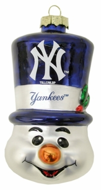 New York Yankees Tophat Snowman Glass Ornament