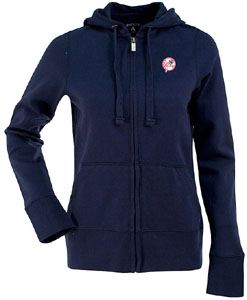 New York Yankees (Tophat) Womens Zip Front Hoody Sweatshirt (Color: Navy) - Large