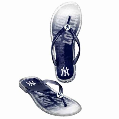 New York Yankees Womens 2013 Slogan Jelly Flip Flop Slippers