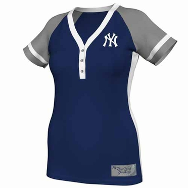New York Yankees Womens League Diva Fashion Top Shirt - Navy