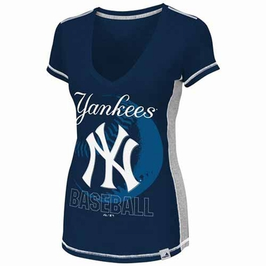 New York Yankees Womens Light Up The Stands V-neck Fashion Top Shirt - Navy
