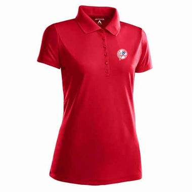 New York Yankees Womens Pique Xtra Lite Polo Shirt (Color: Red)