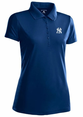 New York Yankees Womens Pique Xtra Lite Polo Shirt (Color: Navy)