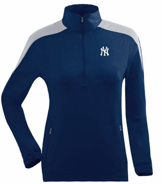 New York Yankees Womens Succeed 1/4 Zip Performance Pullover (Team Color: Navy)