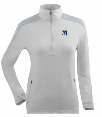New York Yankees Womens Succeed 1/4 Zip Performance Pullover (Color: White)