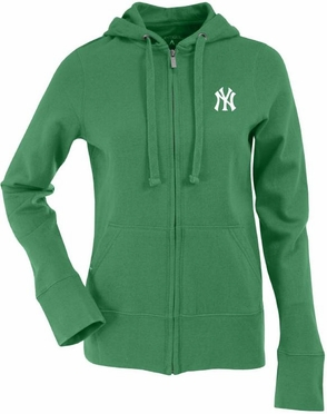 New York Yankees Womens Zip Front Hoody Sweatshirt (Color: Green)