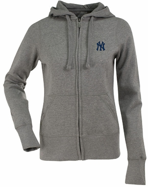 New York Yankees Womens Zip Front Hoody Sweatshirt (Color: Gray)