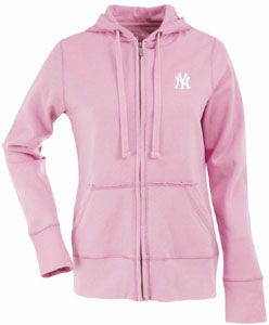 New York Yankees Womens Zip Front Hoody Sweatshirt (Color: Pink) - Large