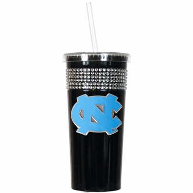 North Carolina Black Bling Tumbler with Straw