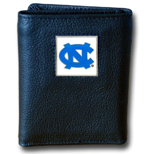 North Carolina Black Leather Trifold Wallet (F)