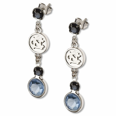North Carolina Crystal Logo Dangle Earrings