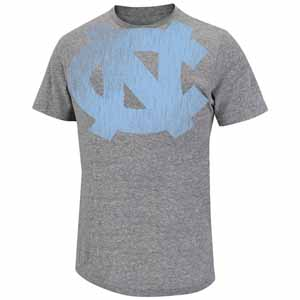 North Carolina Fuzzy Logo Tri-Blend Gray Premium T-Shirt - Large