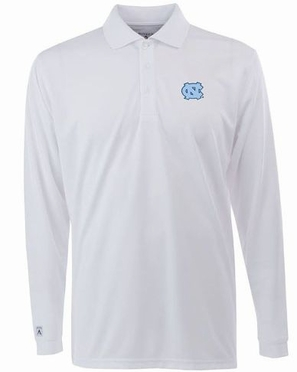 North Carolina Mens Long Sleeve Polo Shirt (Color: White)