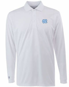 North Carolina Mens Long Sleeve Polo Shirt (Color: White) - Large