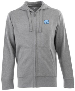 North Carolina Mens Signature Full Zip Hooded Sweatshirt (Color: Gray) - Small