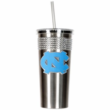 North Carolina Stainless Steel Bling Tumbler with Straw