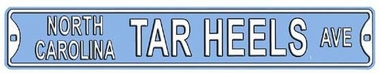 North Carolina Tar Heels Ave Street Sign
