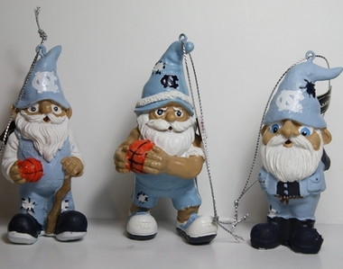 North Carolina Tarheels 2012 Gnome 3 Pack Ornament Set
