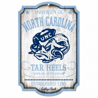 "North Carolina Tar Heels Wood Sign - College Vault - 11"" x 17"""