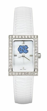 North Carolina Women's White Leather Strap Allure Watch