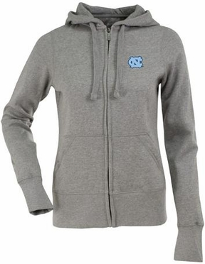 North Carolina Womens Zip Front Hoody Sweatshirt (Color: Gray)